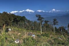Silerygaon Village, Kanchejuga backdrop, Sikkim Royalty Free Stock Photography