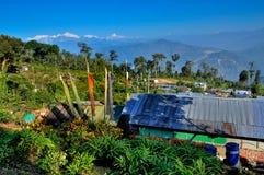 Silerygaondorp, Kanchejuga-achtergrond, Sikkim Stock Afbeelding