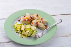 Silesian dumplings with Bacon and zucchini Stock Image