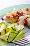 Silesian dumplings with Bacon and zucchini Royalty Free Stock Photos