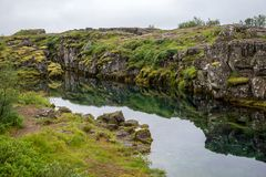The Silfra fissure, Þingvellir, where the European and American Plates meet. Thingvellir National Park near Reykjavik, Iceland Royalty Free Stock Photos