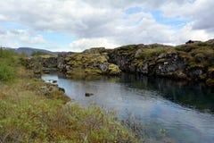 Silfra Thingvellir公园 Silfra故障的中大西洋海岭的地壳构造板块 免版税库存照片