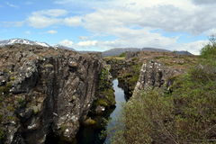 Silfra Thingvellir Park. Silfra breakdown of the tectonic plates of the Mid-Atlantic Ridge Royalty Free Stock Photos