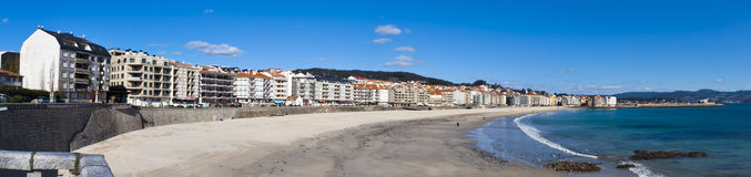 Silgar beach. Sanxenxo, Spain - February 27, 2011: Silgar beach is located in the city of Sanxenxo. Sanxenxo is a popular tourist spot in northern Spain Royalty Free Stock Photography