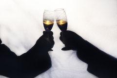 Silhoette of Champagne Toast. Two gay men toasting their wedding with champagne.  Silhoette taken outdoors behind a screen, with abstract shapes of trees and Royalty Free Stock Images