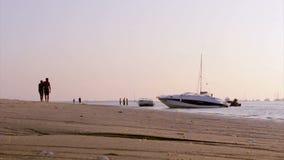 Silhoette do barco no por do sol dentro, Ria Formosa O Algarve Imagem de Stock