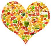Silhoette hizo de las varias frutas Foto de archivo libre de regalías