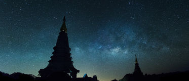 Silhoette pagoda and the milky way Royalty Free Stock Images