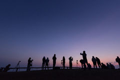 Silhoette peoples at point of view. Tourists were waiting for sunrise in the morning at point of view Stock Photos