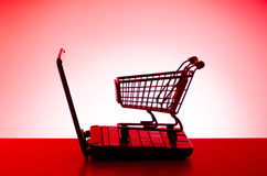 Silhoette of shopping cart Royalty Free Stock Photos