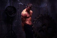 Silhoette shot of fit muscular athlete with bare torso Stock Images