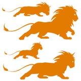 Silhoettes del leone Immagine Stock