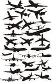 Silhoetts d'avion Image libre de droits