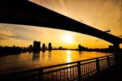 Silhouate桥梁 图库摄影