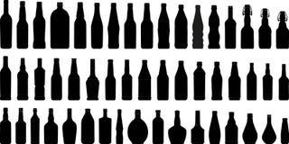 Silhouet 1 van flessen (+vector) Stock Afbeelding