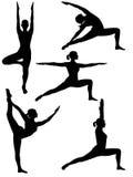 Silhouet 2 van de yoga Royalty-vrije Stock Afbeeldingen