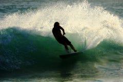 Silhouet 2 van Surfer Royalty-vrije Stock Afbeeldingen