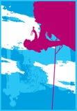Silhouet 3 van de Bergbeklimming stock illustratie