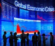 Silhouet Bedrijfsmensen met Globale Economische Crisis Stock Afbeelding