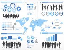 Silhouet Bedrijfsmensen met Globaliseringsconcept Stock Afbeeldingen