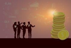 Silhouet Bedrijfsmensen Team Success Finance Money Wealth Royalty-vrije Stock Afbeeldingen