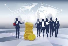 Silhouet Bedrijfsmensen Team Success Finance Money Wealth Stock Afbeelding