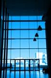 Silhouet bij de bureaubouw royalty-vrije stock foto's