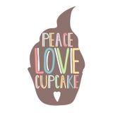 Silhouet cupcakes met hand die binnen van letters voorzien Vrede, liefde, cupcake tekst Malplaatje voor affiche of banketbakkerij Stock Afbeelding
