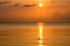Silhouet die van de mens in het overzees zwemmen Royalty-vrije Stock Afbeeldingen