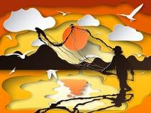 Silhouet die van de mens de vissen in schemering op document scherp art. vangen vector illustratie