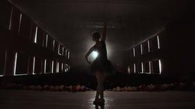 Silhouet die van jonge balletdanser zich terug naar camera bevinden Licht silhouet van elegante jonge ballerina die bevinden zich stock footage