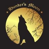 Silhouet die van wolf bij de volledige vector van de jagers` s maan huilen royalty-vrije illustratie