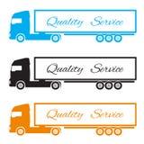 Silhouet drie vrachtwagens om de goederen te leveren Stock Afbeelding
