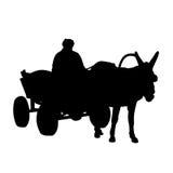 Silhouet, ezel en kar Royalty-vrije Stock Afbeelding