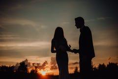 silhouet gelukkig glimlachend paar van het sexy meisje van de kerelkus op zand in klassieke kleding bomen en hemel op achtergrond royalty-vrije stock afbeelding