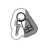 Silhouet gestippelde sticker met met sleutels en keychain vector illustratie