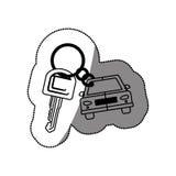 Silhouet gestippelde sticker met sleutels en auto keychain pictogram stock illustratie