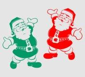 Silhouet grappige Santa Claus Stock Afbeeldingen