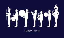 Silhouet het Marcheren Band stock illustratie