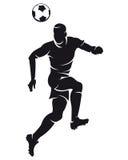 Silhouet het vector van de voetbal (voetbal) speler Stock Afbeeldingen