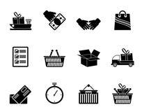Silhouet het Verschepen en logistische pictogrammen Stock Afbeelding