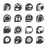 Silhouet Internet, Computer en mobiele telefoonpictogrammen Stock Fotografie