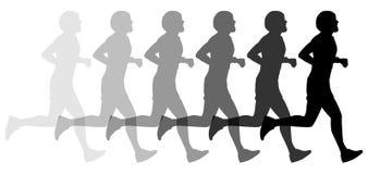 Silhouet jogger jogging - stock illustratie