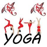 Silhouet jonge vrouw het praktizeren yoga Meisje pilates Vector op abstract achtergrondlotusbloempictogram vector illustratie