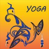 Silhouet jonge vrouw het praktizeren yoga Meisje pilates Vector op abstract pictogram als achtergrond Royalty-vrije Stock Afbeeldingen