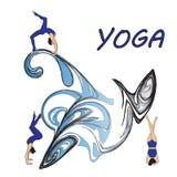 Silhouet jonge vrouw het praktizeren yoga Meisje pilates Vector op abstract pictogram als achtergrond Royalty-vrije Stock Foto