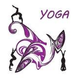 Silhouet jonge vrouw het praktizeren yoga Meisje pilates Vector op abstract pictogram als achtergrond royalty-vrije illustratie