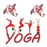 Silhouet jonge vrouw het praktizeren yoga Meisje pilates Vector op abstract pictogram als achtergrond Stock Foto's