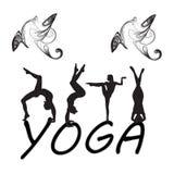 Silhouet jonge vrouw het praktizeren yoga Meisje pilates Vector op abstract pictogram als achtergrond Stock Afbeelding