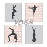 Silhouet jonge vrouw het praktizeren yoga Meisje pilates Vector op abstract pictogram als achtergrond Royalty-vrije Stock Fotografie
